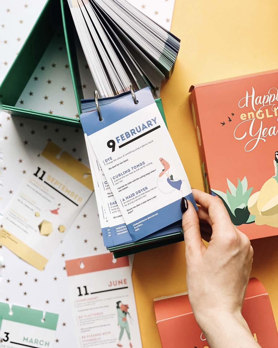 Открывной настолькный календарь для изучения английского языка