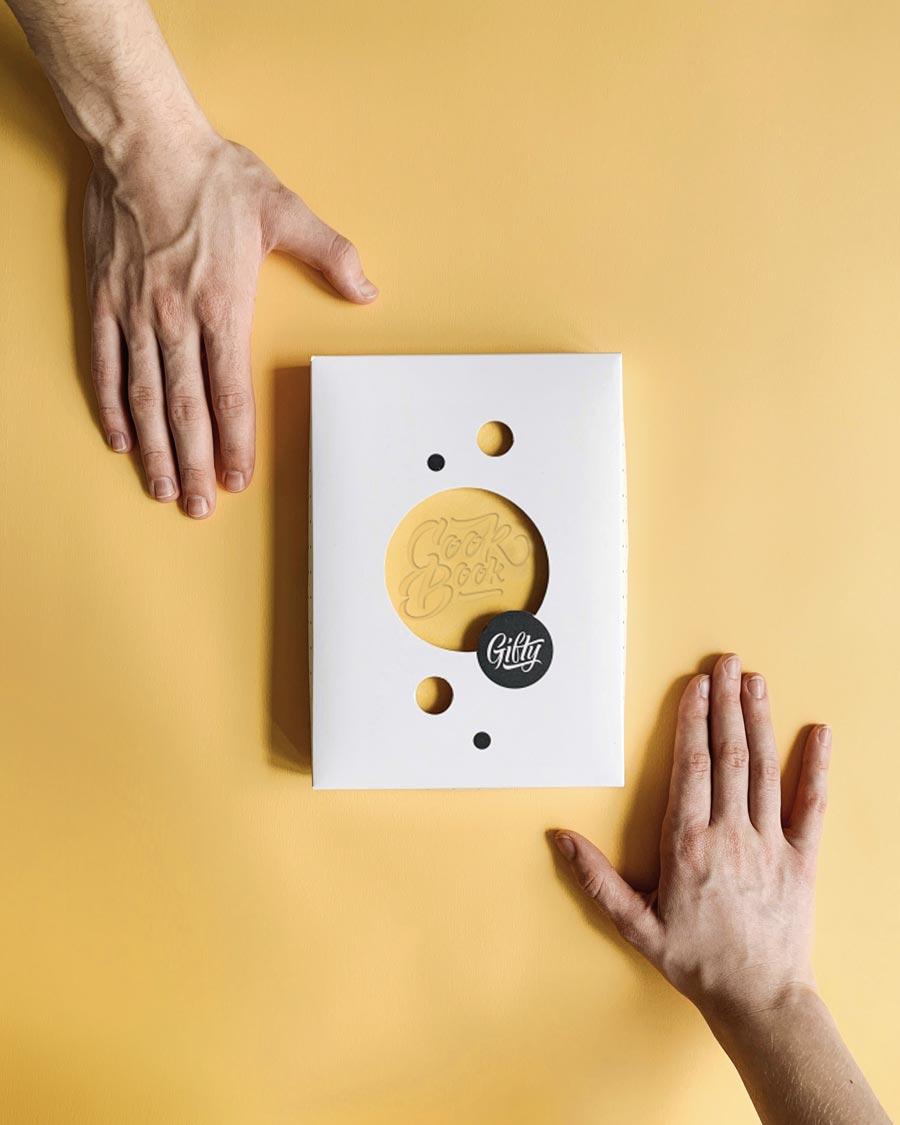 Кук бук желтый с эко кожи с конвертом